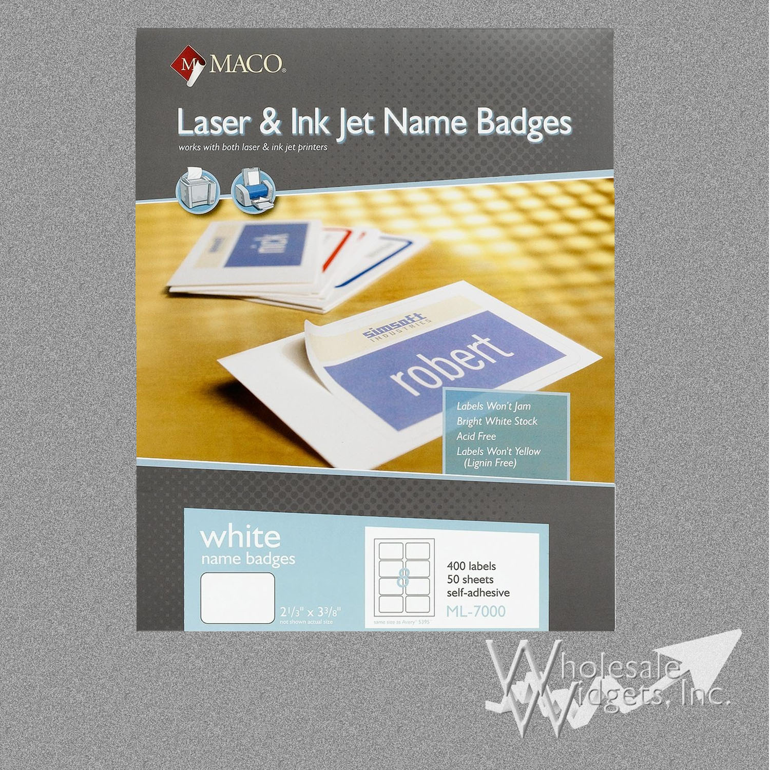 maco ml7000 badge labels for use in 2 1 3 x 3 3 8 name badge labels